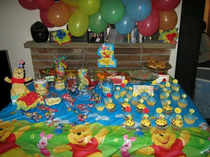 Winnie the Pooh 1st Birthday Party candy bar