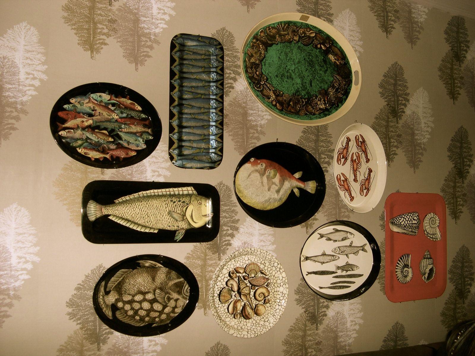 Fornasetti's house; bandejas con diseños de peces