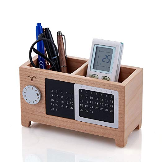Amazon Com Artinova Wooden Pen Cup Office Desk Organizer Pen And Pencil Holder Stationery Storage Box With Calendar For The Desk Arta 0006m Desk Organization Wooden Pen Holder Wooden Desk Organizer