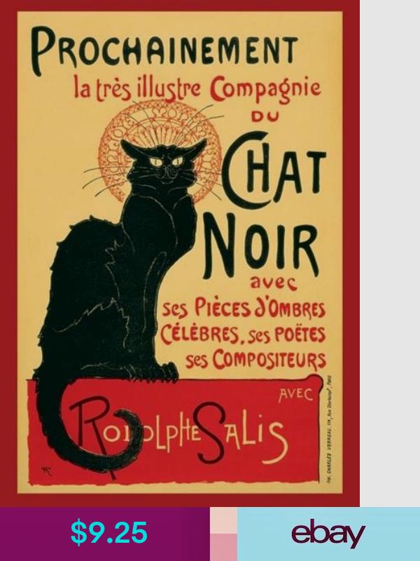 Steinlen Chat Noir Art Poster 24x36 0538 Black Cat Painting Cat Posters Poster Art