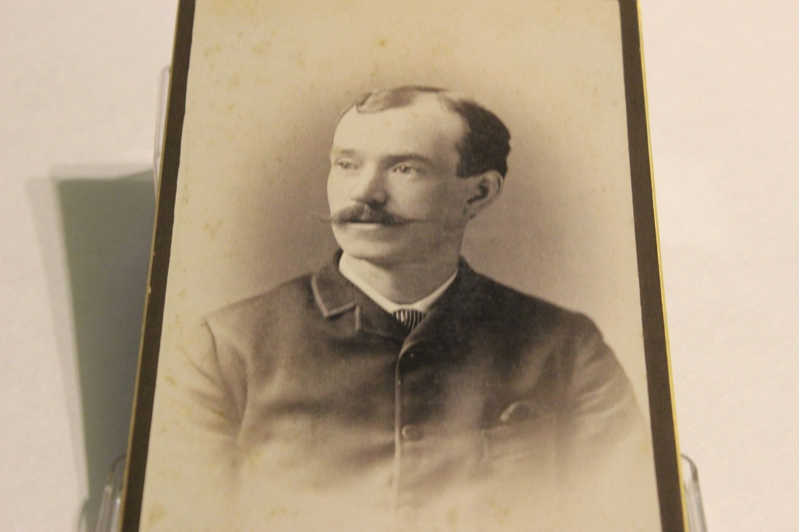 Antique Cabinet Card Photo Victorian Gentleman Handlebar Mustache New Bedford Ma