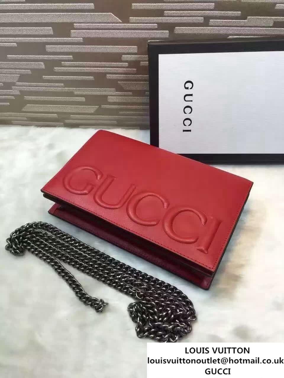 dd1ca166abf Gucci XL Leather Mini Chain Shoulder Bag 421850 Red 2016