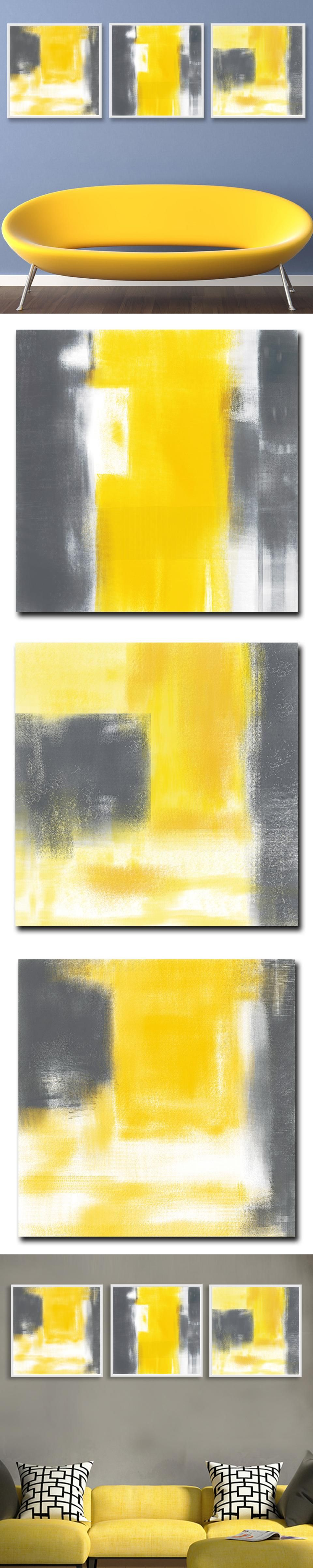 Yellow And Gray Abstract Minimalism Art Canvas Poster Print ...
