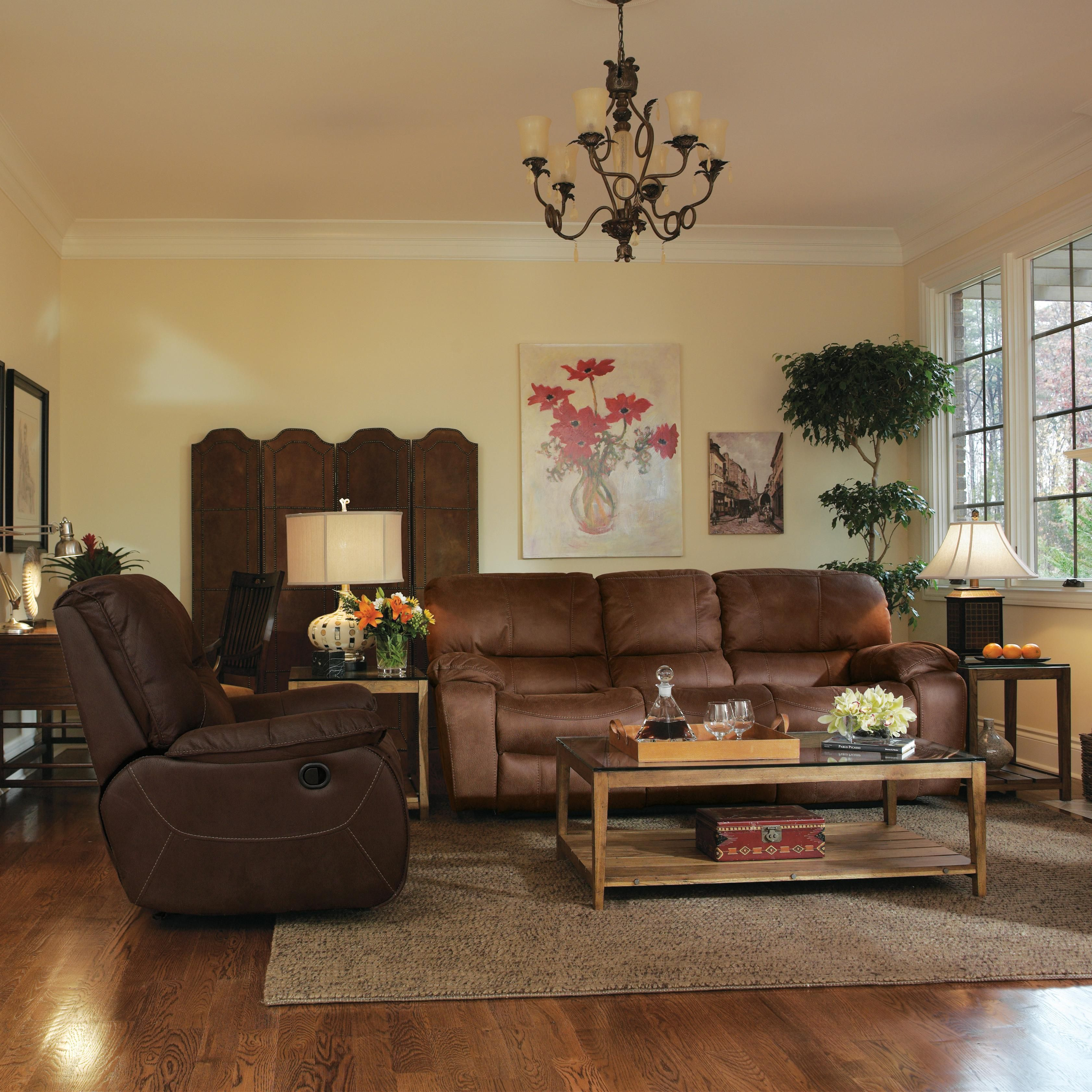 Laudes Grandview Reclining Sofa With Plush Pillowed Arms By Flexsteel Recline Comfortable