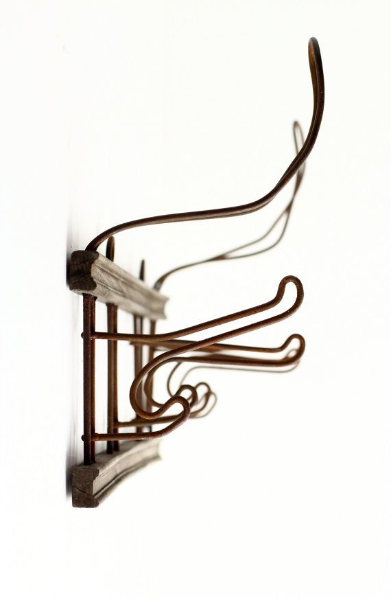 Vintage French Coat Rack - Bent Wire Wall Hooks - Rustic Farmhouse ...