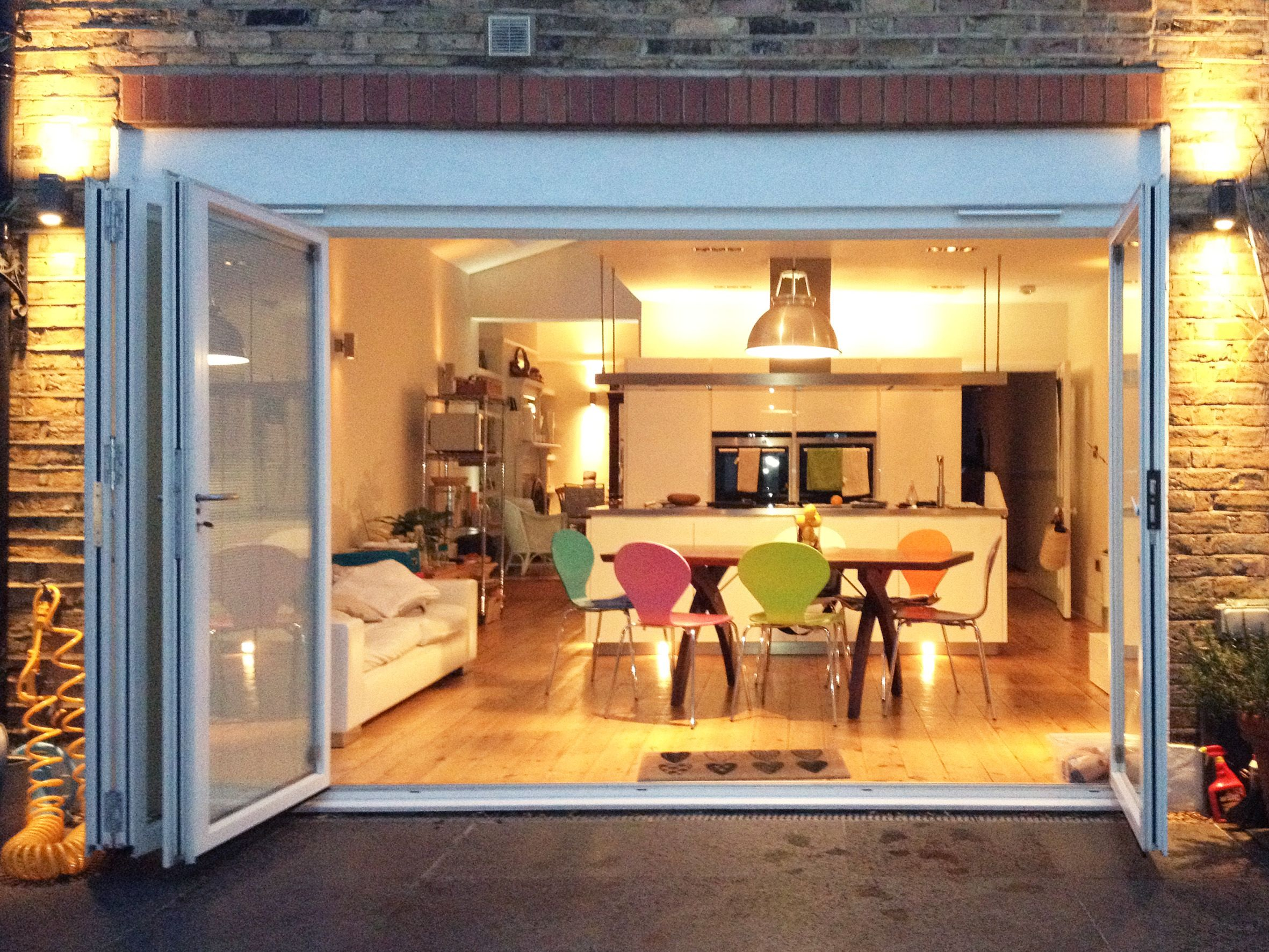 Aluminium 4 panel set of SFK70 bi folding doors to a kitchen ...