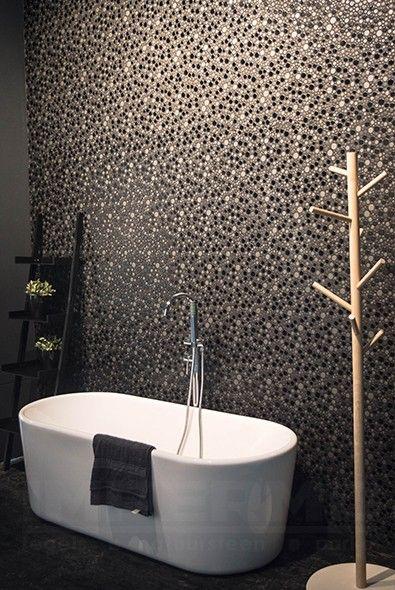 keramische wandtegel, wandtegel cirkels, circle mosaics, badkamer ...