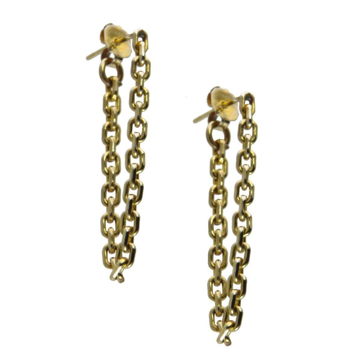 e3df88e7c 18k Gold Chain Wrap Drop Earrings, Vintage, 1930s to 1980s This gorgeous  pair of gold chain earrings, the chain circles the earlobe.
