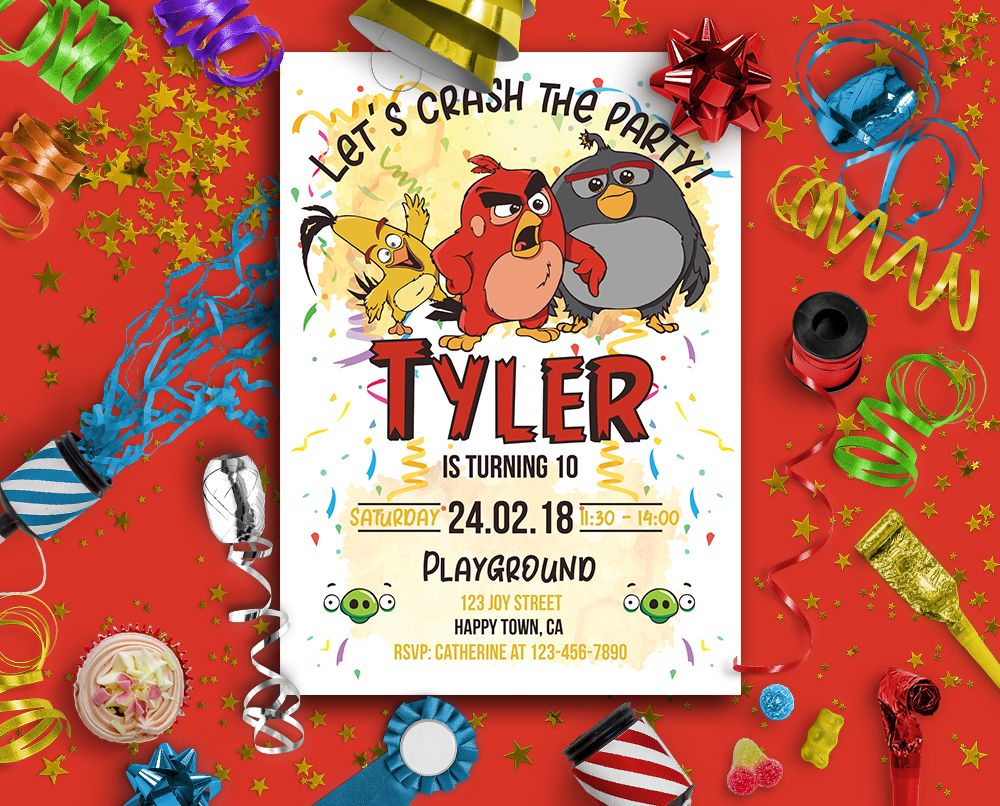 Angry Birds Invites Angry Birds Birthday Invitations Angry Etsy Bird Birthday Invitations Bird Invitation Bird Birthday