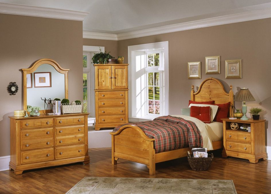 Wonderful Pine Bedroom Furniture With Cupboard And Vanity Also Cream Painted Wall