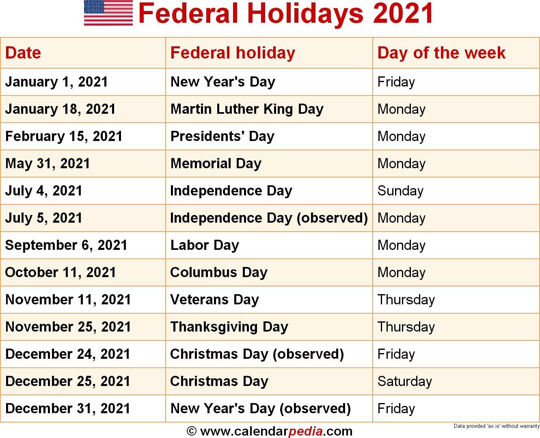 2021 United States Government Calendar di 2020