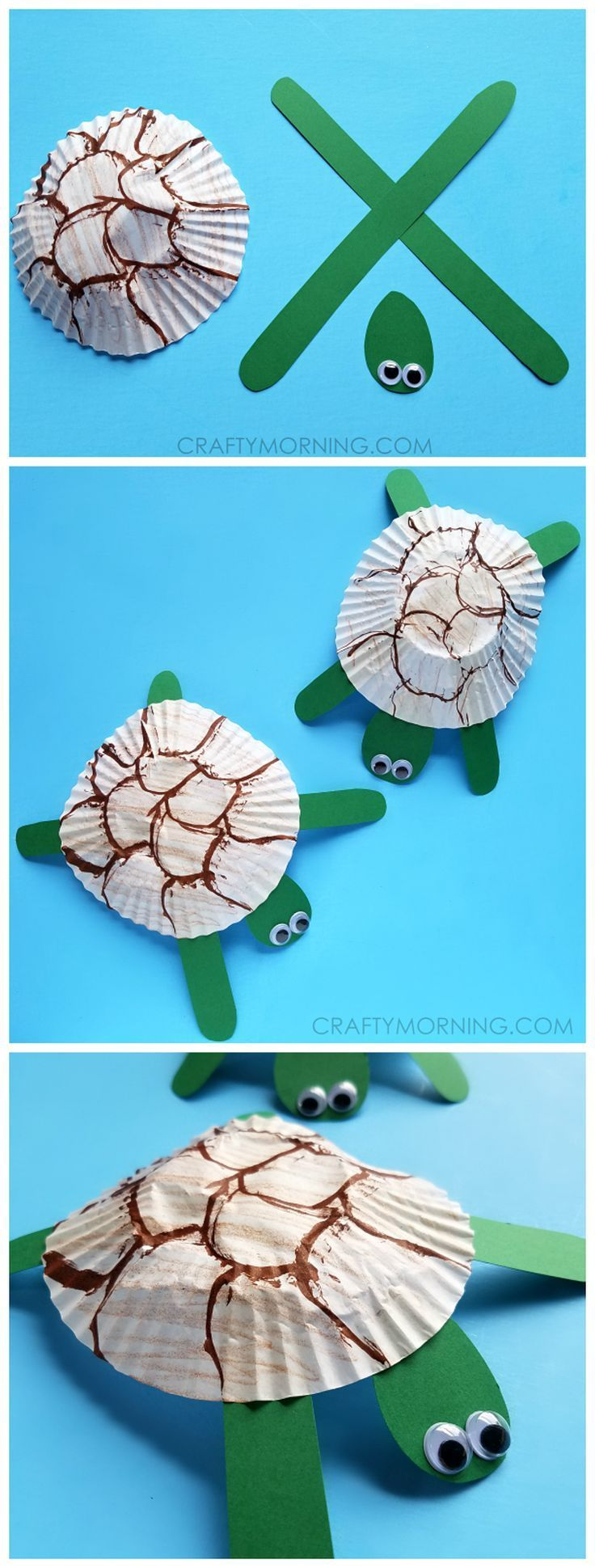 Cupcake liner turtle craft for kids turtle crafts ocean for Turtle arts and crafts