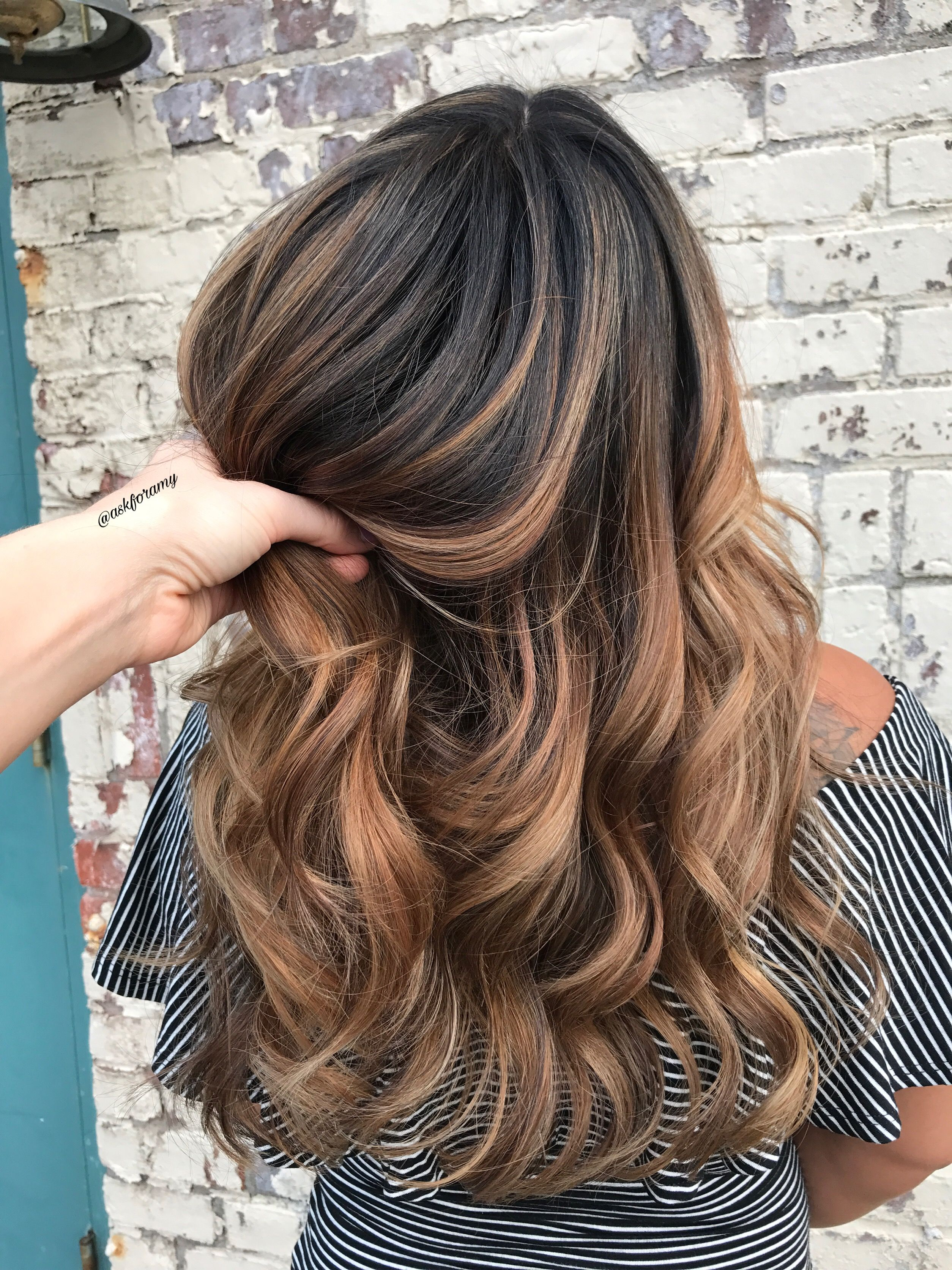 caramel balayage on dark hair by askforamy askforamy pinterest caramel balayage dark. Black Bedroom Furniture Sets. Home Design Ideas