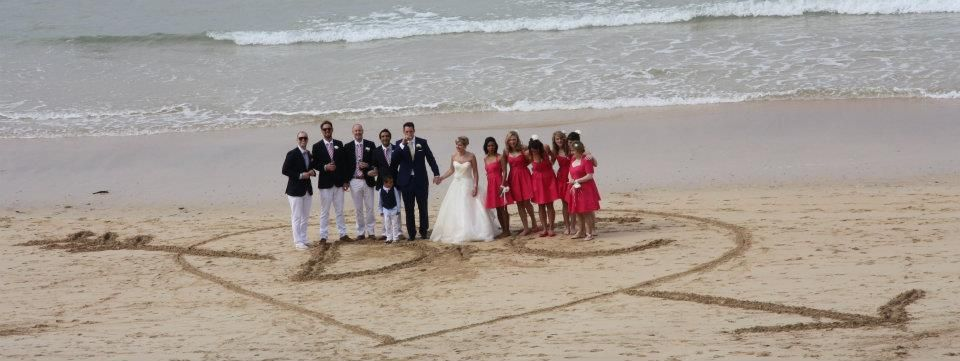 Wedding in Cornwall - Ushers and Bridesmaids on Harlyn Bay beach