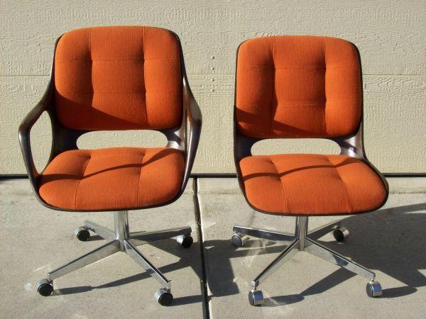 2 ChromCraft office chairs orange fabric brown frames chrome bases