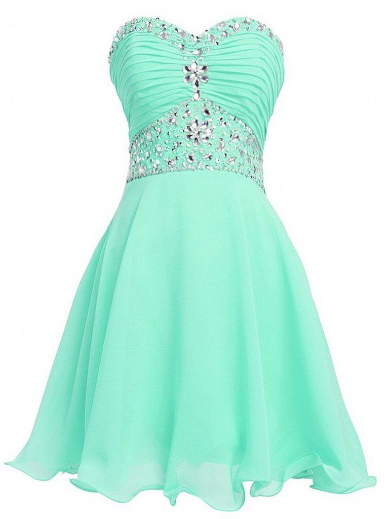 CLOCOLOR Women's Chiffon Beaded Sweetheart Short Graduation Homecoming Dress Size 4 Mint. Sleeveless, Strapless and sweetheart neckline. Made of chiffon fabric. Dry clean, real photos. Lace-up closure. A-Line skirt, Short hemline. Embellishments: Beading,Pleats,Crystal,Sequins. Occasion: Homecoming, Graduation, Prom, Party, Wedding and Special Occasions. Size: US2-26W plus size or custom size.Please refer to the standard size chart image and find the proper size.Please Use The Size Chart...