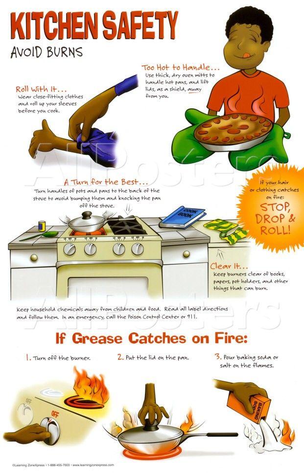 Kitchen Safety Tips | Kitchen Safety Poster Avoid Burns Food Kitchen Safety Course