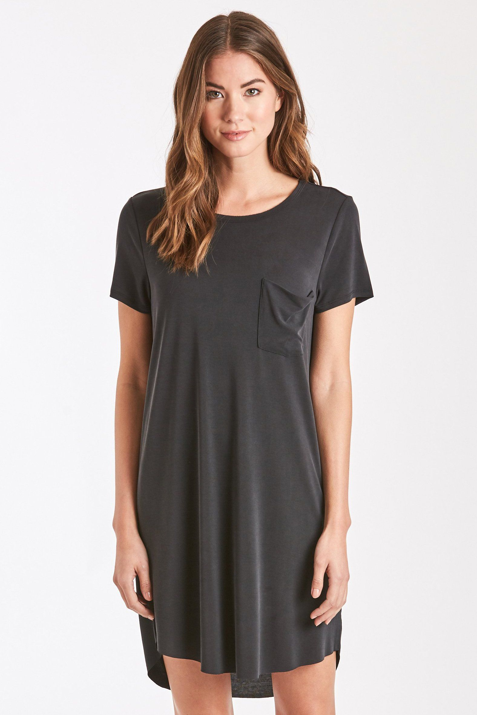 055539bb ... Another Love Clothing. A crew neck tee shirt dress featuring side  pockets. The Samantha is cute and comfortable