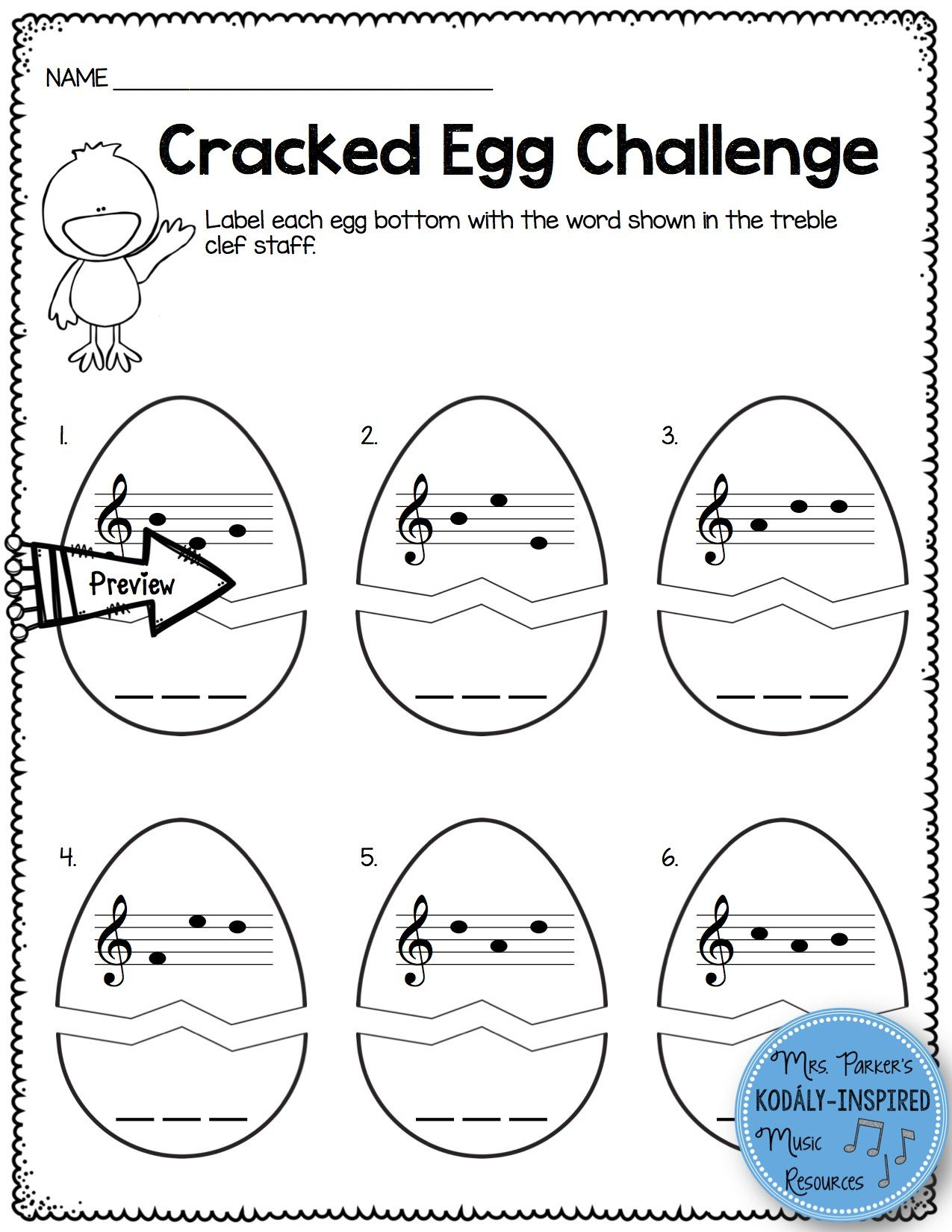 Cracked Egg Challenge Identifying Three Letter Words In The Treble Clef Staff