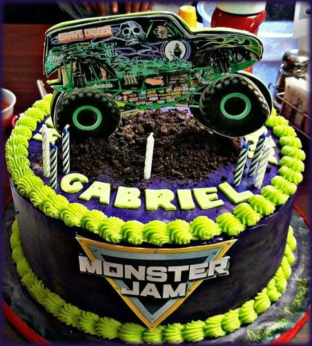 Surprising Monster Jam Grave Digger Cake Monster Truck Birthday Party Ideas Funny Birthday Cards Online Alyptdamsfinfo