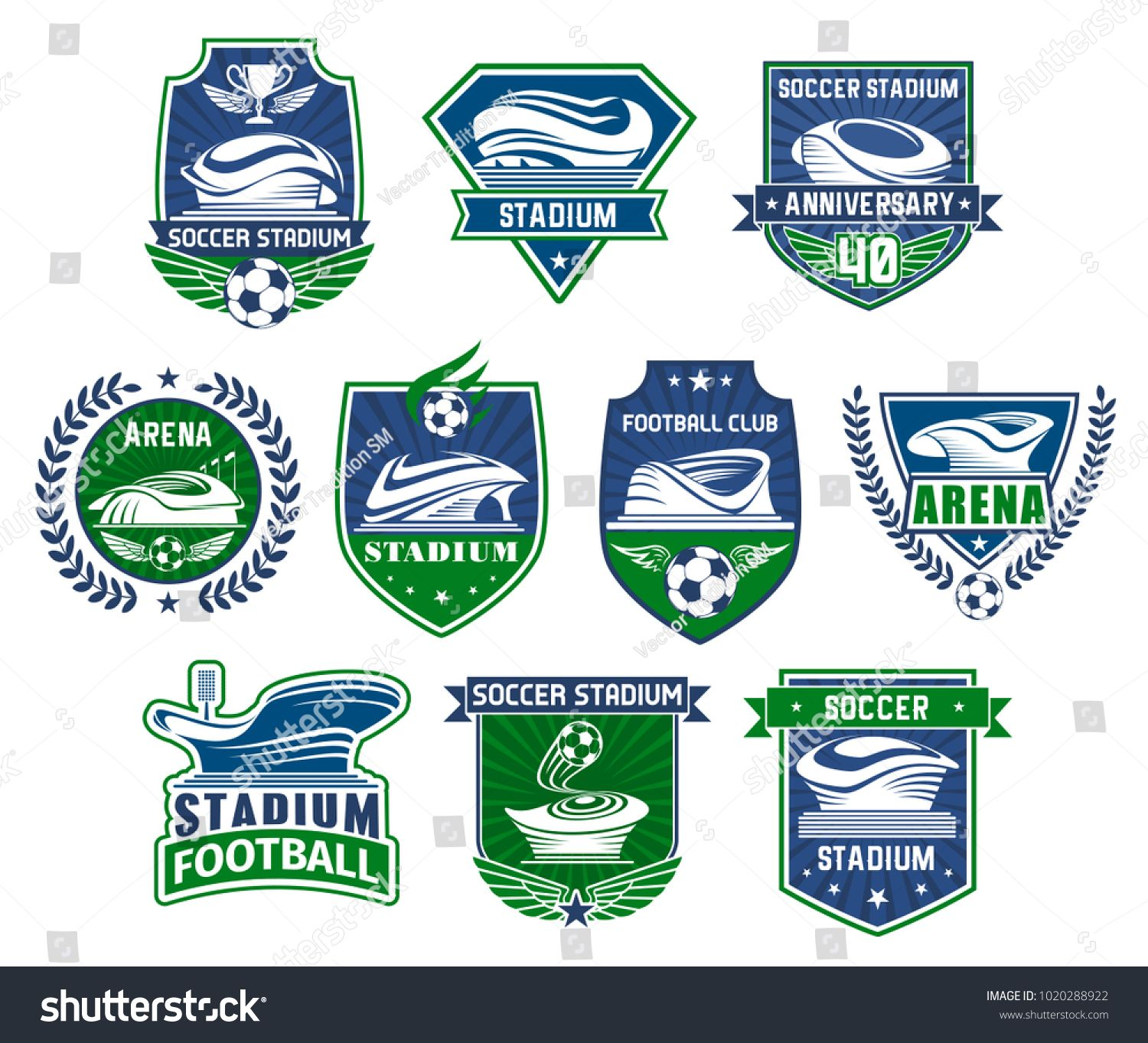 Football sport club badge with soccer stadium Sporting arena for football tournament event with soccer ball winner trophy cup and champion wreath on heraldic shield for s...