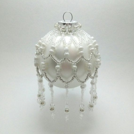 Beaded Ornament Cover Christmas Tree by QuiteBrightBeads on Etsy