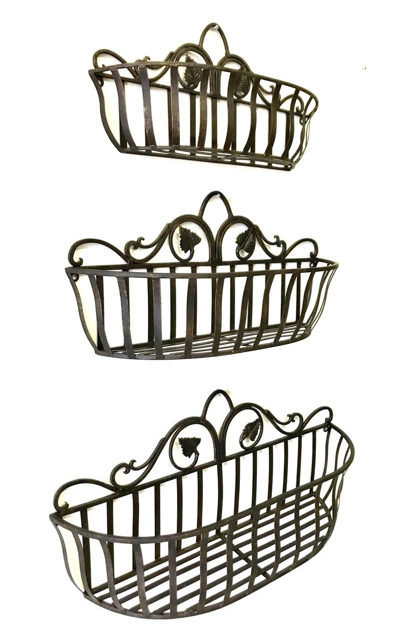 Tuscan Wrought Iron Hand Forged Wall Planter Baskets Set Of 3 Tuscan Wrought Iron Tuscan Decorating Iron Wall Decor