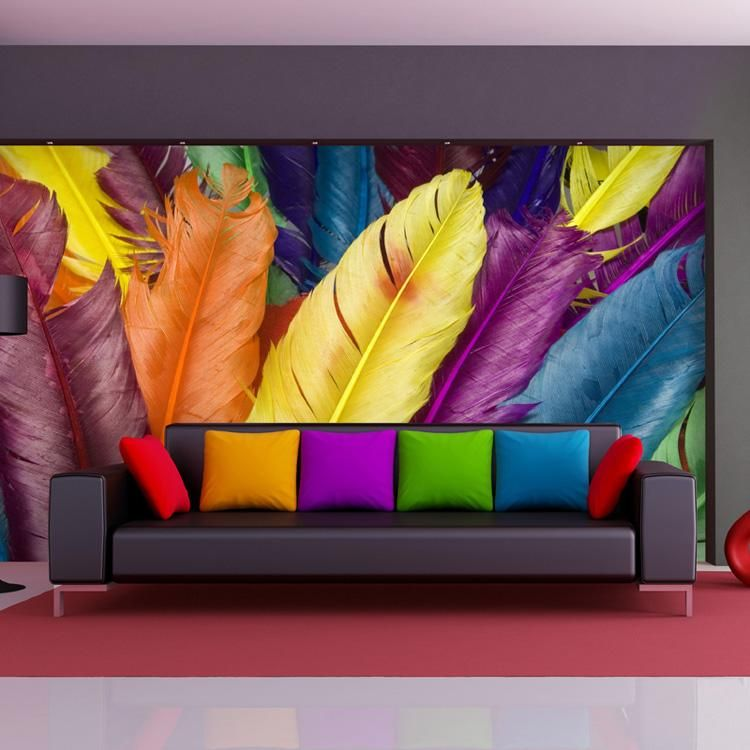 Colorful Feather Wall Mural 3d Photo Wallpaper Fashion Wallpaper Design Your Wall Wallpaper Kid Room Decor