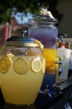 punch/drink dispensers for reception! have the bar tender have classy drink holders with different fun alcoholic drinks and regular drinks for the kids