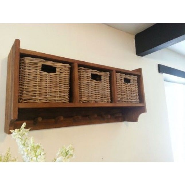 Reclaimed Teak Coat Hook Storage Unit - 3 Baskets | Hallway