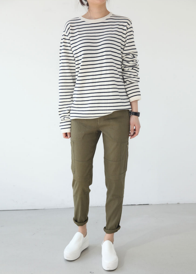 striped shirt + rolled green chinos + slip ons