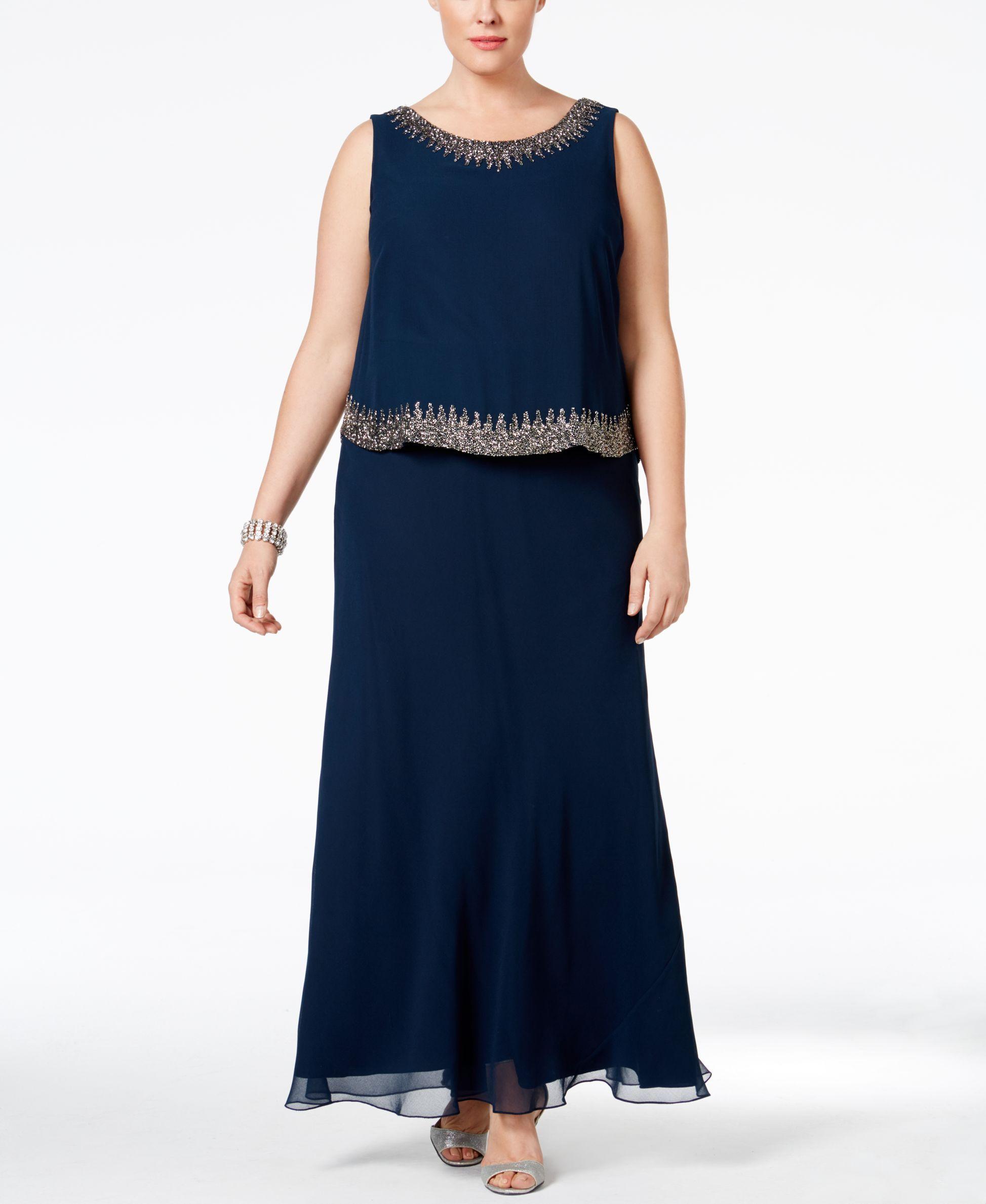 J Kara Plus Size Embellished Popover Gown | wedding | Pinterest ...