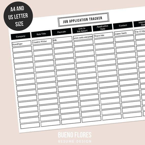job application tracker job application log editable printable