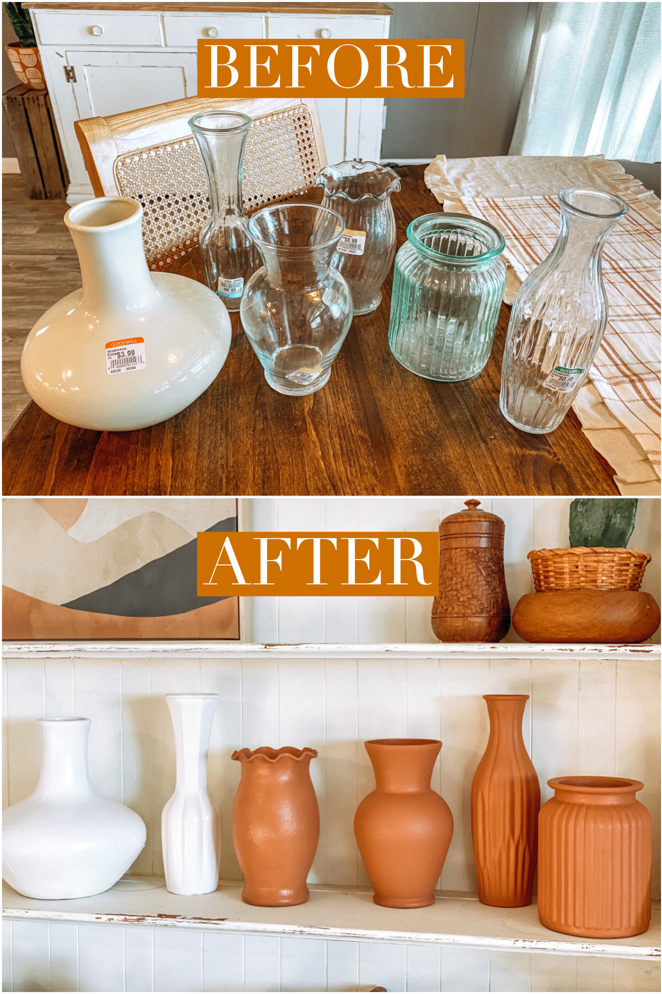 DIY terracotta vases.