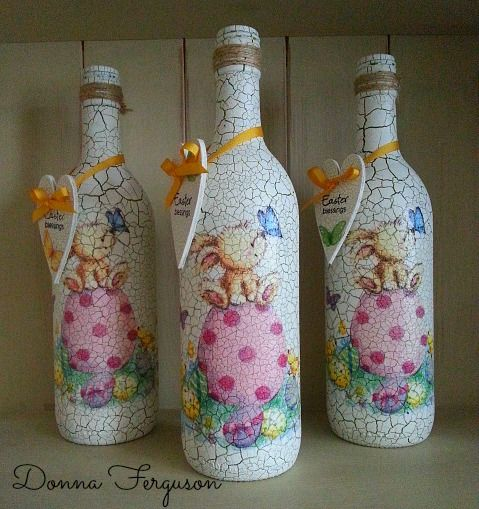 Decoupaged Crackle Paint Wine Bottles Botellas decoradas todo un