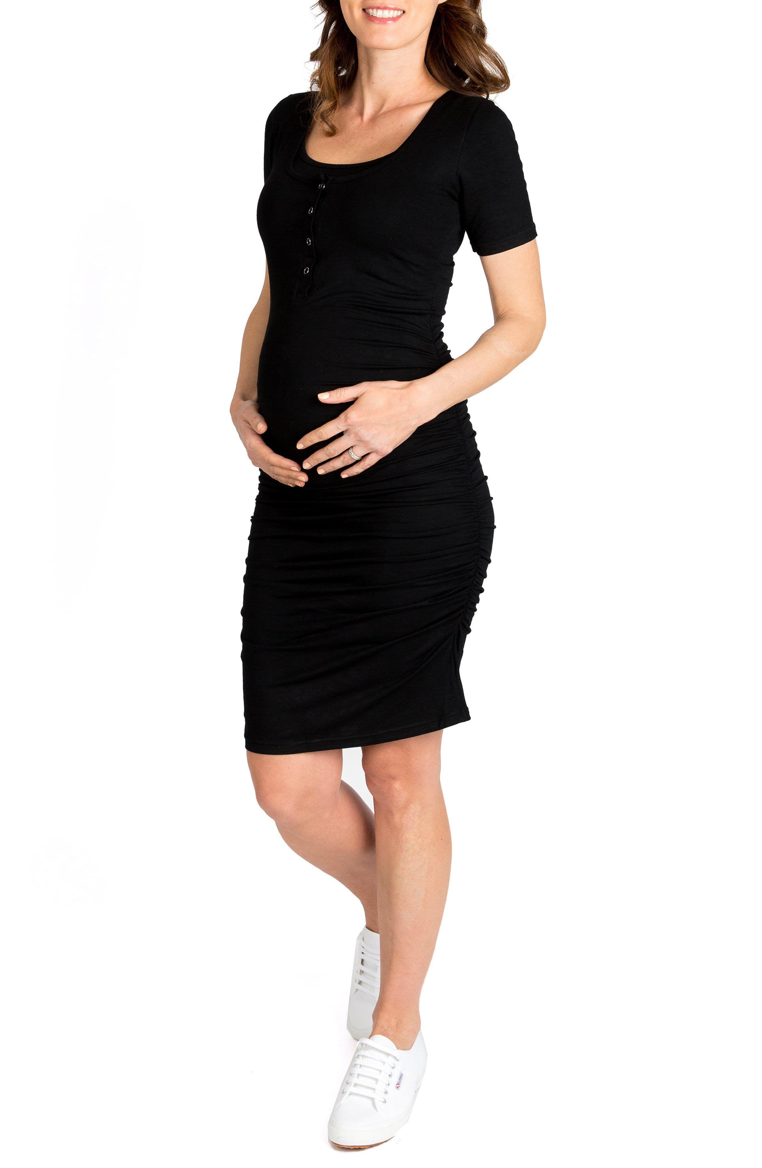 d33105543d843 Women's Nom Maternity Snap Maternity/nursing Shirtdress, Size X-Small -  Black