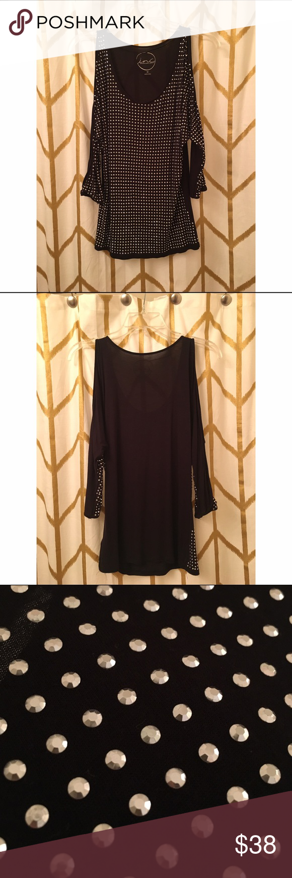 INC Black Top This top has only been worn once. Wonderful, like- new condition! It is very soft and is on trend with its open shoulder sleeves. On the front, there are small silver lightweight studs for the added glam look. INC International Concepts Tops Tees - Long Sleeve