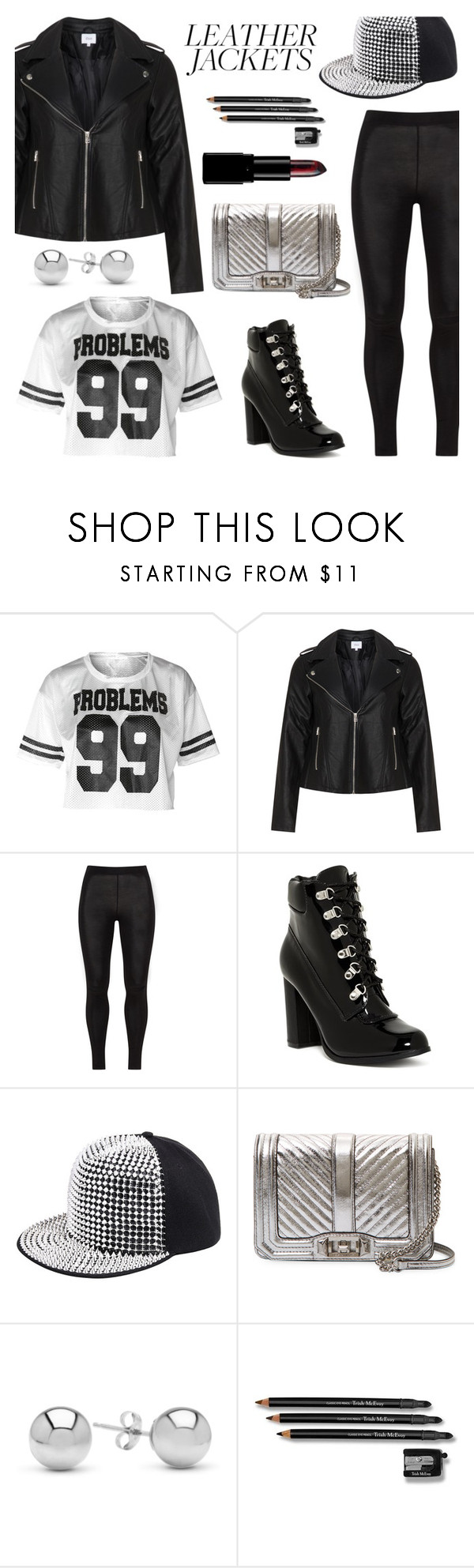 """Cool-Girl Style: Leather Jackets"" by the-geek-goddess ❤ liked on Polyvore featuring Zizzi, Cape Robbin, Rebecca Minkoff, Jewelonfire and Trish McEvoy"