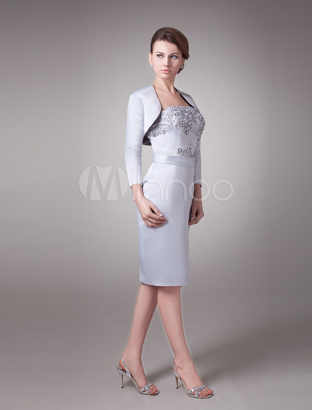 07ca3b4caf8 Mother Of The Bride Dress Two Piece Wedding Guest Dresses Beaded Silver  Satin Short Wedding Party Dress Wedding Guest Dress  Piece