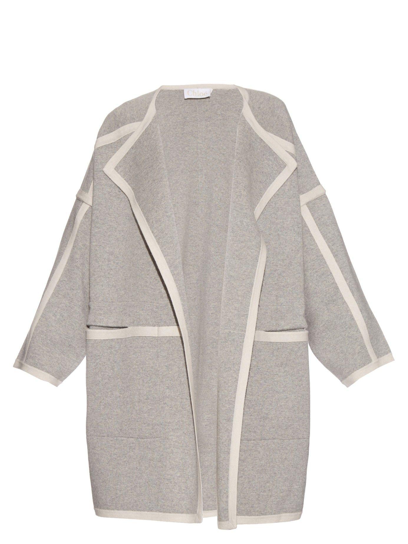 Contrast Trim Cashmere Knit Jacket