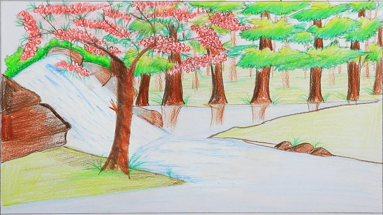 How To Draw Scenery Of Stream Waterfall Step By Step