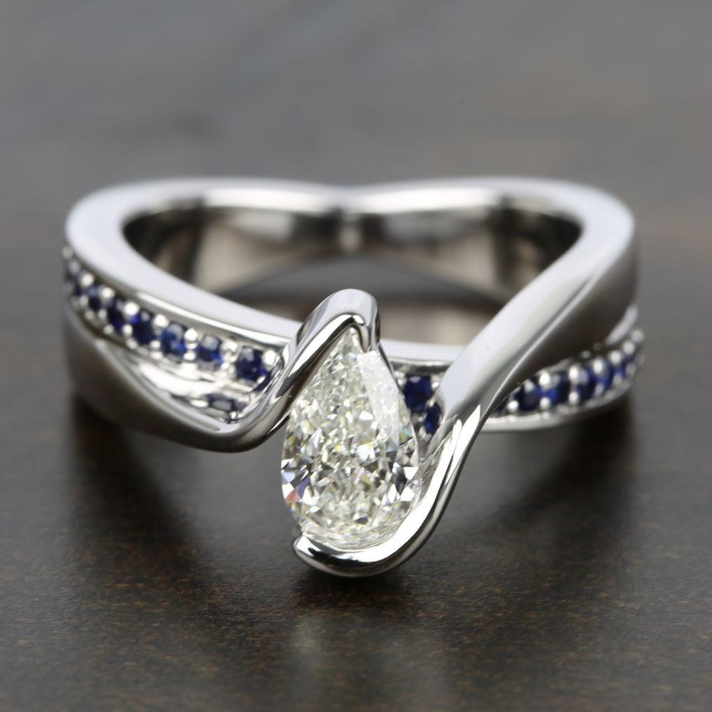 Bezel bridge sapphire engagement ring with pear diamond jewelry