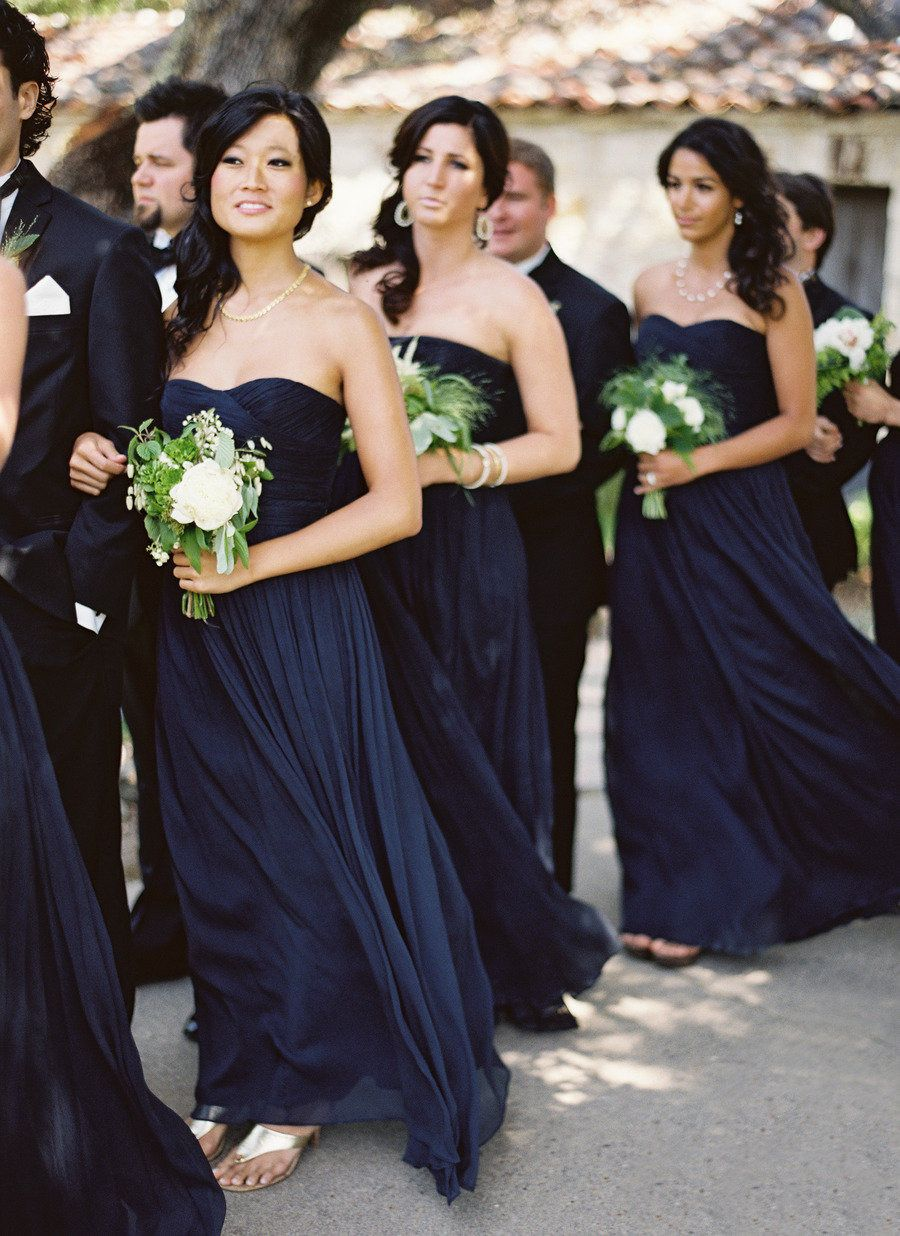 Bridesmaids Elegant In Navy J Crew Gowns Jose Villa Photography See The