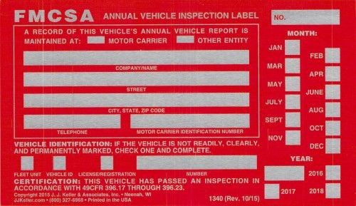 JJ Keller 54SN Annual Vehicle Inspection Label 20-Pack, Silver - vehicle inspection sheet template