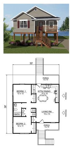 Coastal House Plan 96703 | Total Living Area: 856 Sq. Ft., 2