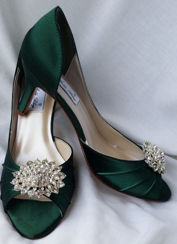 a7ed8d9a227db3 Wedding Shoes Hunter Green Bridal Shoes with Large by ABiddaBling ...