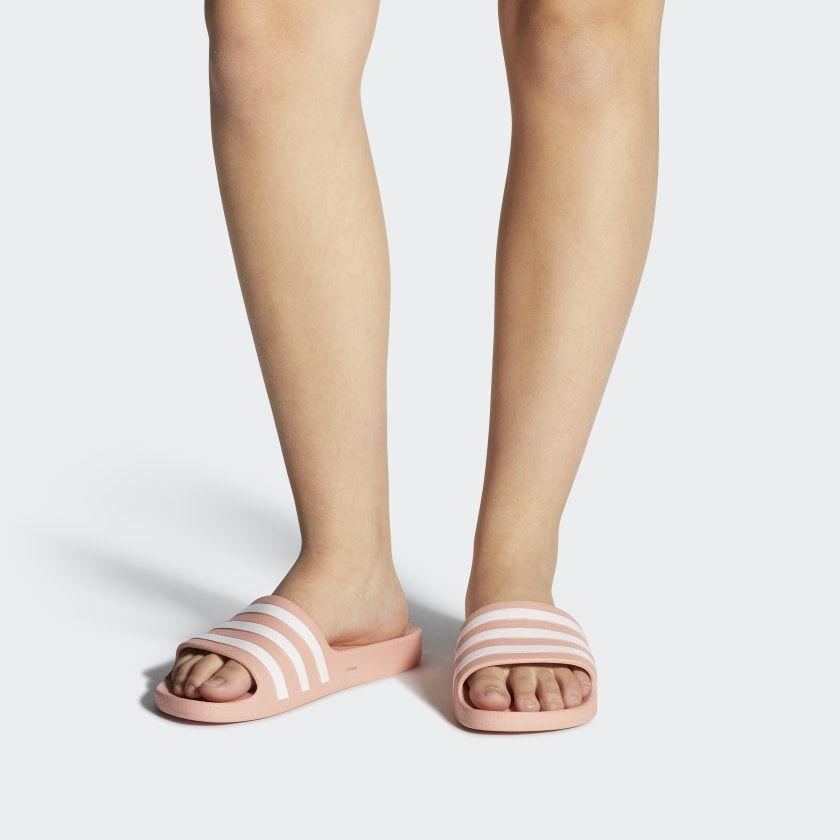 Adilette Aqua Slides | Pink adidas, Stripes fashion, Adidas