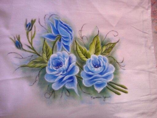 Pintura em tecido - Rosas Azuis