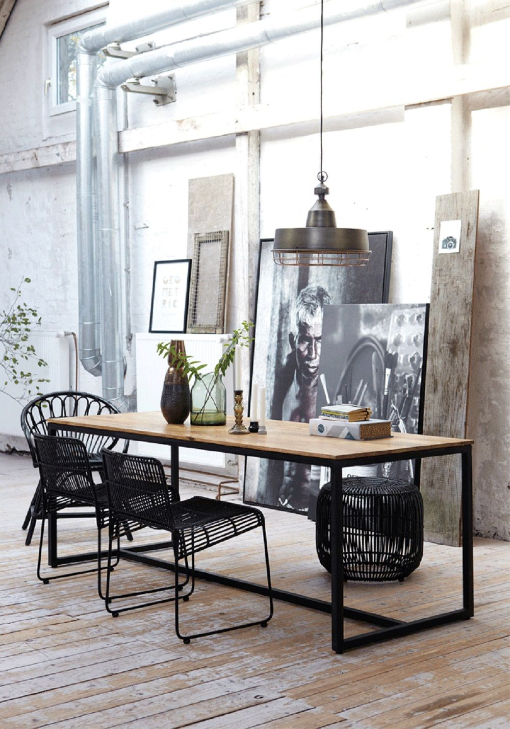 Beautiful Dining Room Mid Century Black Railing Chairs Mixed With Vintage Industrial  Dining Table And Floor ArtDining Room Mid Century Black Railing Chairs  Mixed With ...