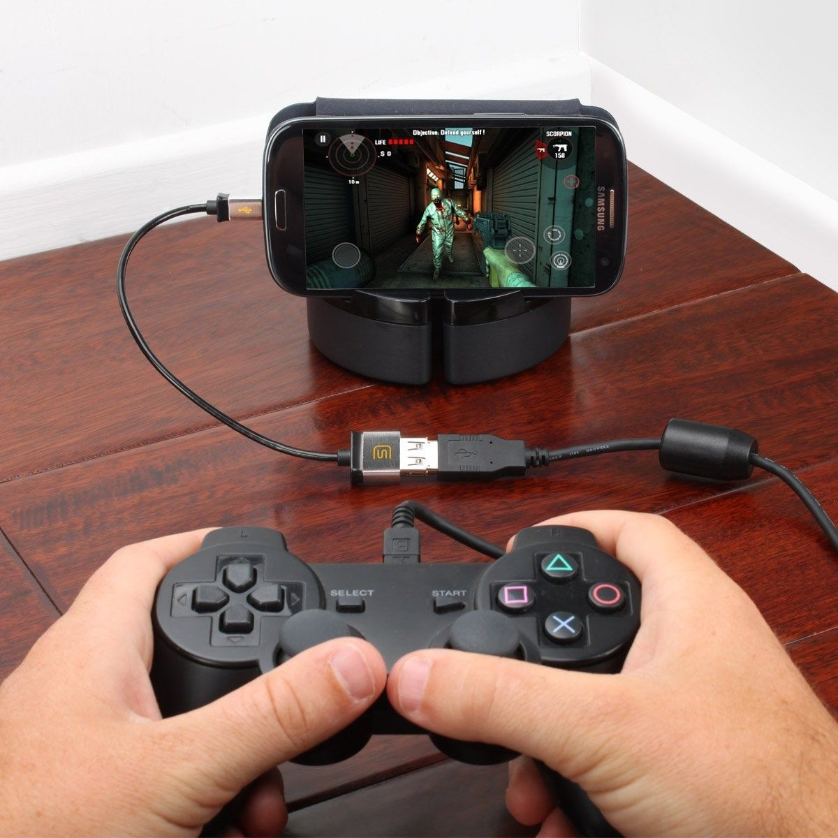 Micro USB OTG to USB 2.0 Host Cable Adapter for USB On-The-Go Compatible Devices to use with Universal PC USB Gaming Controllers